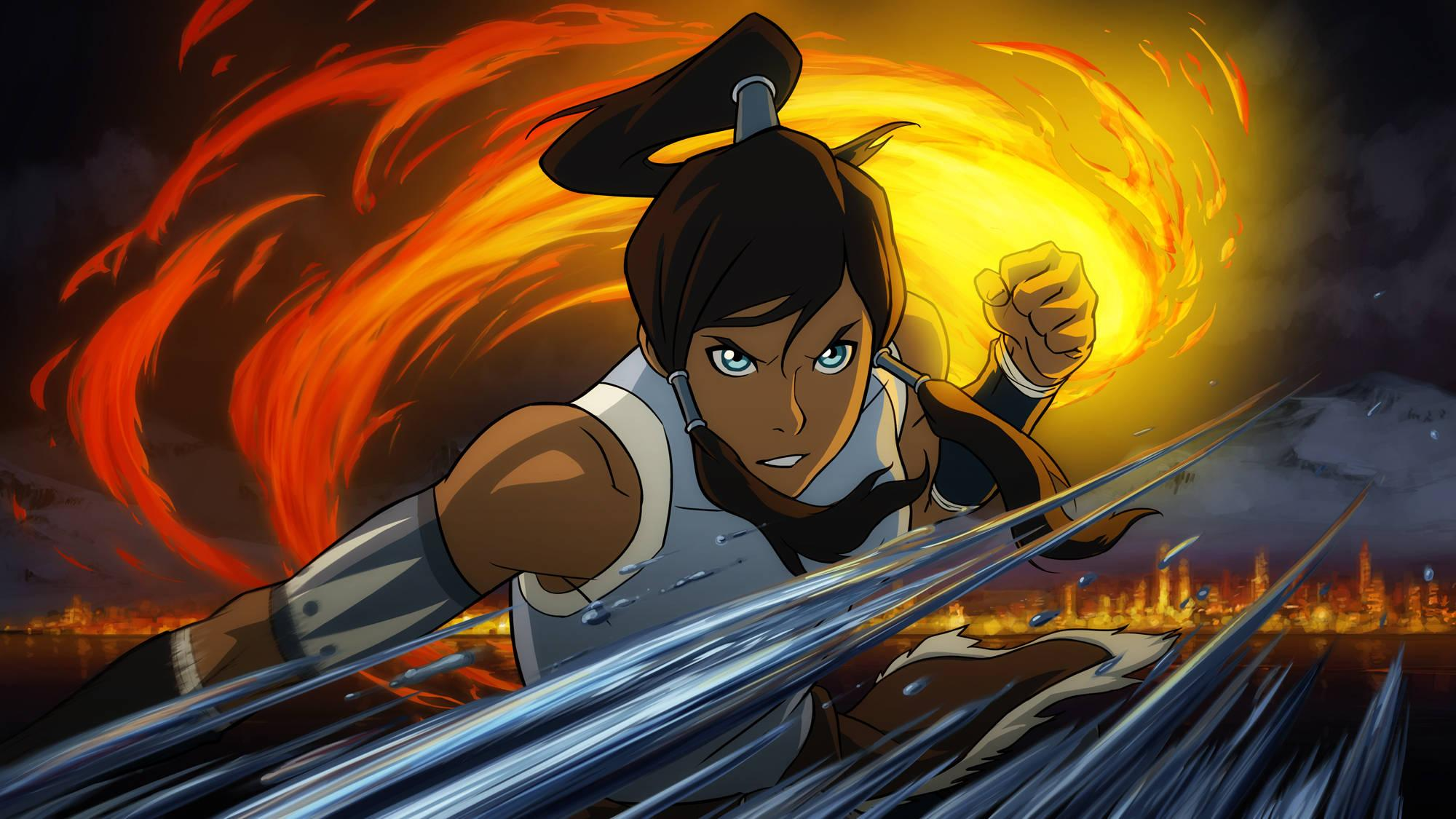 Pictured: Korra demonstrates fire and waterbending in THE LEGEND OF KORRA on Nickelodeon. Photo: Nickelodeon. ©2012 Viacom, International, Inc. All Rights Reserved