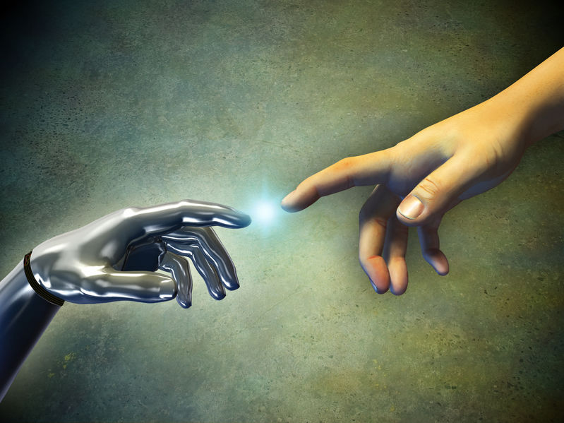 Human+hand+touching+an+android+hand.+Digital+illustration.
