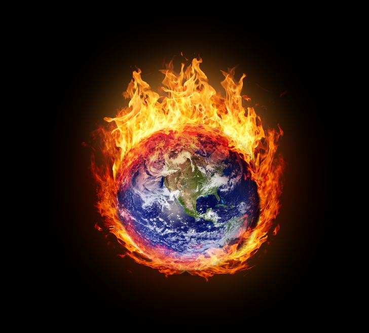 15367433 - burning globe earth (west hemisphere) - version with glowing (elements furnished by nasa)