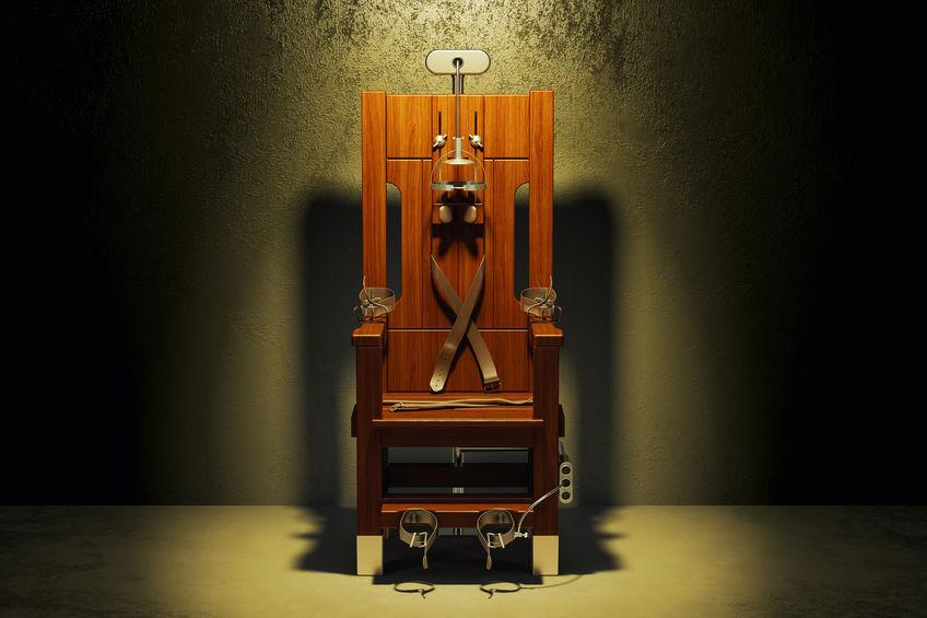 Electric+chair+in+the+dark+room%2C+3D+rendering