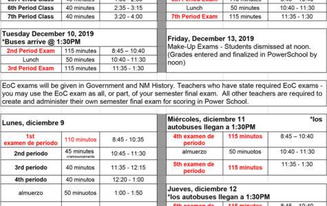 Exam Schedule: Fall Semester, 2019